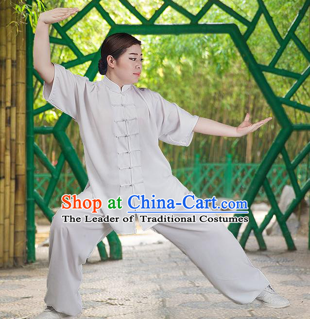Traditional Chinese Top Silk Cotton Kung Fu Costume Martial Arts Kung Fu Training Short Sleeve White Uniform, Tang Suit Gongfu Shaolin Wushu Clothing, Tai Chi Taiji Teacher Suits Uniforms for Women