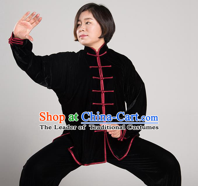 Traditional Chinese Top Pleuche Kung Fu Costume Martial Arts Kung Fu Training Black Uniform, Tang Suit Gongfu Shaolin Wushu Clothing, Tai Chi Taiji Teacher Suits Uniforms for Women