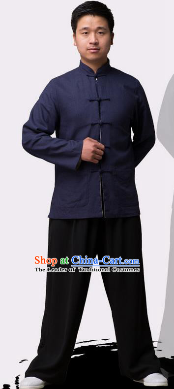 Traditional Chinese Top Linen Kung Fu Costume Martial Arts Kung Fu Training Plated Buttons Navy Blouse, Tang Suit Gongfu Shaolin Wushu Clothing, Tai Chi Taiji Teacher Coat for Men