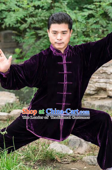 Traditional Chinese Top Pleuche Kung Fu Costume Martial Arts Kung Fu Training Purple Plated Buttons Uniform, Tang Suit Gongfu Shaolin Wushu Clothing, Tai Chi Taiji Teacher Suits Uniforms for Men
