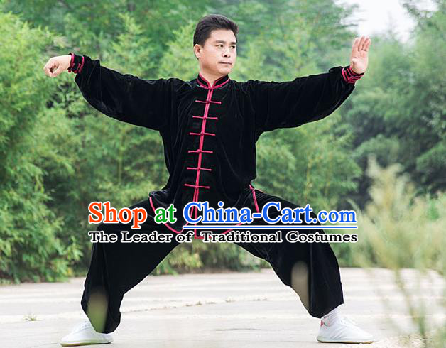 Traditional Chinese Top Pleuche Kung Fu Costume Martial Arts Kung Fu Training Black Plated Buttons Uniform, Tang Suit Gongfu Shaolin Wushu Clothing, Tai Chi Taiji Teacher Suits Uniforms for Men