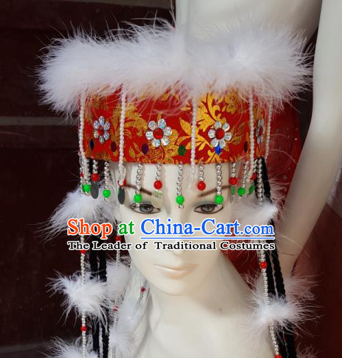 Traditional Chinese Nationality Dancing Costume Mongolian Princess Folk Dance Ethnic Headdress Hat Headband for Women
