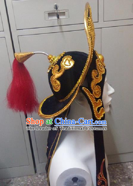 Traditional Ancient Chinese Classical Peking Opera Props, Peking Opera Headwear Changing Faces Hat for Men