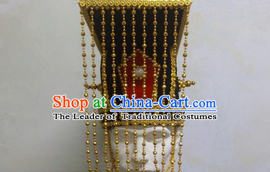 Traditional Ancient Chinese Classical Peking Opera Props, Han Dynasty Imperial Emperor Headwear Royal King Hat for Men