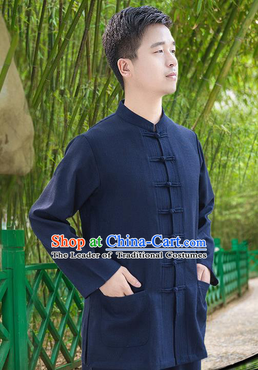 Traditional Chinese Top Linen Kung Fu Costume Martial Arts Kung Fu Training Long Sleeve Navy Uniform, Tang Suit Gongfu Shaolin Wushu Clothing, Tai Chi Taiji Teacher Suits Uniforms for Men