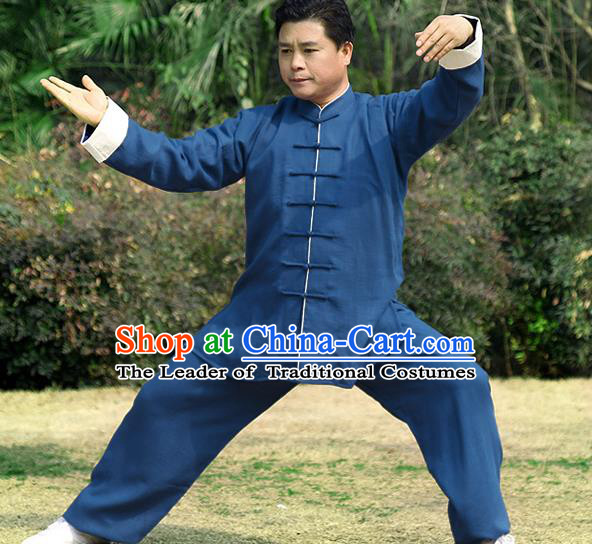 Traditional Chinese Top Linen Kung Fu Costume Martial Arts Kung Fu Training Roll Sleeve Blue Uniform, Tang Suit Gongfu Shaolin Wushu Clothing, Tai Chi Taiji Teacher Suits Uniforms for Men