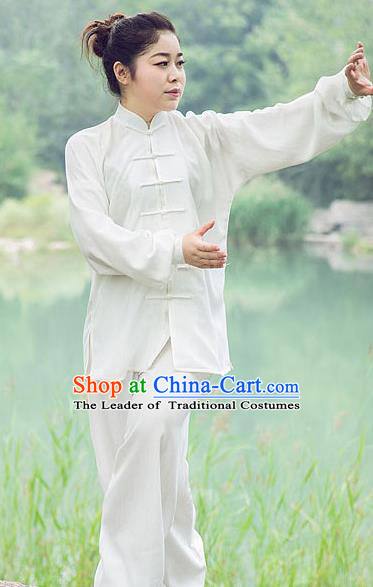 Traditional Chinese Top Silk Cotton Kung Fu Costume Martial Arts Kung Fu Training Plated Buttons White Uniform, Tang Suit Gongfu Shaolin Wushu Clothing, Tai Chi Taiji Teacher Suits Uniforms for Women