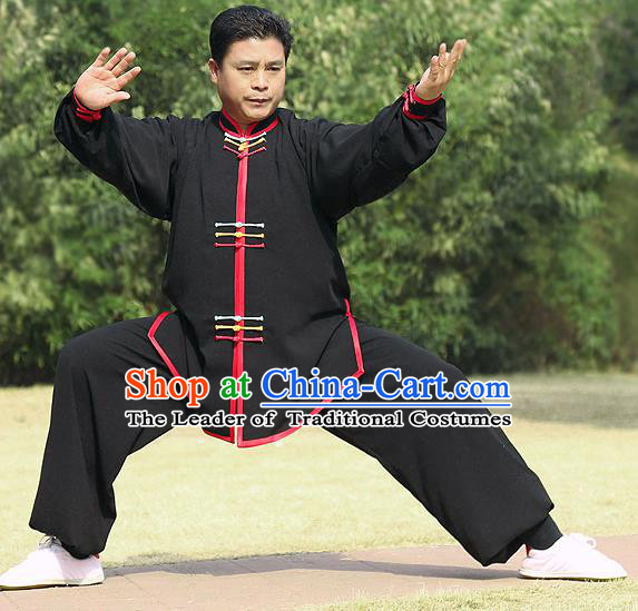 Traditional Chinese Top Silk Cotton Kung Fu Costume Martial Arts Kung Fu Training Colorful Plated Buttons Black Uniform, Tang Suit Gongfu Shaolin Wushu Clothing, Tai Chi Taiji Teacher Suits Uniforms for Men