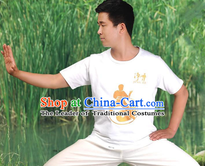 Traditional Chinese Top Cotton Kung Fu Costume Martial Arts Kung Fu Training Short Sleeve  Gilding T-Shirt, Tang Suit Gongfu Shaolin Wushu Clothing, Tai Chi Taiji Teacher T-shirts for Men