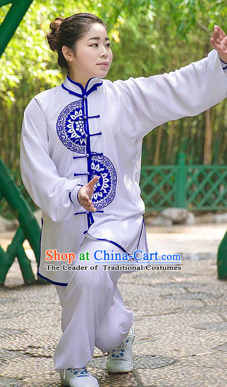 Traditional Chinese Top Silk Cotton Kung Fu Costume Martial Arts Kung Fu Training Plated Buttons Blue and White Uniform, Tang Suit Gongfu Shaolin Wushu Clothing, Tai Chi Taiji Teacher Suits Uniforms for Women