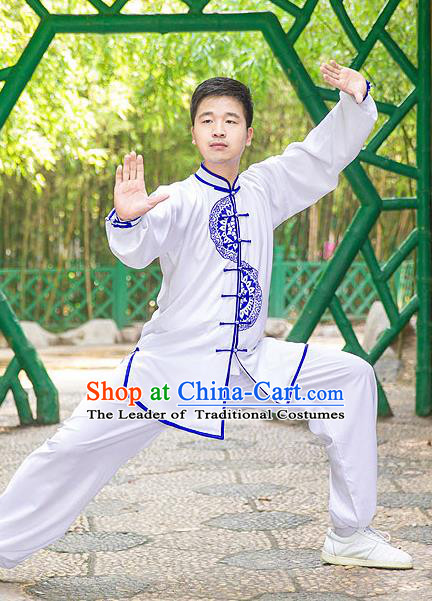 Traditional Chinese Top Silk Cotton Kung Fu Costume Martial Arts Kung Fu Training Plated Buttons Blue and White Uniform, Tang Suit Gongfu Shaolin Wushu Clothing, Tai Chi Taiji Teacher Suits Uniforms for Men