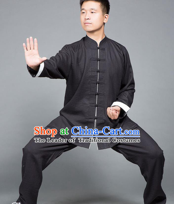 Traditional Chinese Top Linen Kung Fu Costume Martial Arts Kung Fu Training Plated Buttons Roll Sleeve Black Uniform, Tang Suit Gongfu Shaolin Wushu Clothing, Tai Chi Taiji Teacher Suits Uniforms for Men