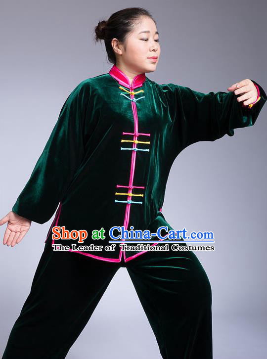 Traditional Chinese Top Pleuche Kung Fu Costume Martial Arts Kung Fu Training Colorful Plated Buttons Green Uniform, Tang Suit Gongfu Shaolin Wushu Clothing, Tai Chi Taiji Teacher Suits Uniforms for Women