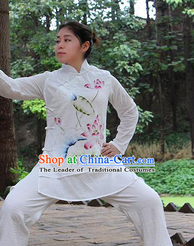 Traditional Chinese Top Linen Kung Fu Costume Martial Arts Kung Fu Training Slant Opening Plated Buttons Freehand Sketching Lotus Uniform, Tang Suit Gongfu Shaolin Wushu Clothing, Tai Chi Taiji Teacher Suits Uniforms for Women