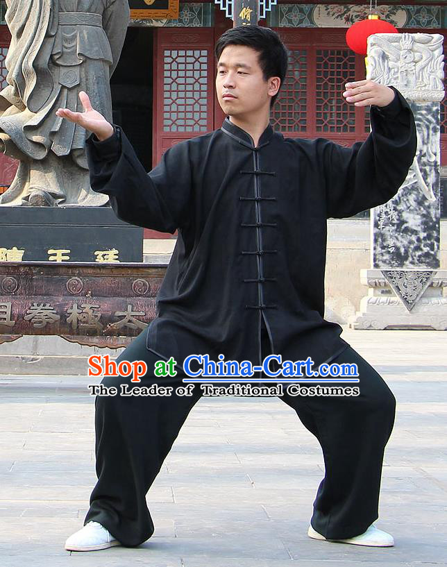 Traditional Chinese Top Linen Kung Fu Costume Martial Arts Kung Fu Training Black Uniform, Tang Suit Gongfu Shaolin Wushu Clothing, Tai Chi Taiji Teacher Suits Uniforms for Men