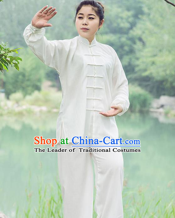Traditional Chinese Top Linen Kung Fu Costume Martial Arts Kung Fu Training White Uniform, Tang Suit Gongfu Shaolin Wushu Clothing, Tai Chi Taiji Teacher Suits Uniforms for Women