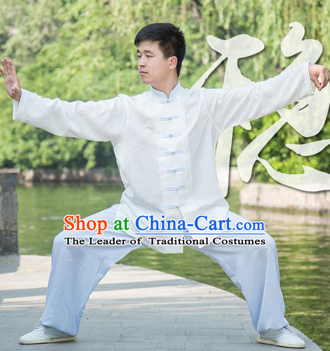 Traditional Chinese Top Linen Kung Fu Costume Martial Arts Kung Fu Training White Uniform, Tang Suit Gongfu Shaolin Wushu Clothing, Tai Chi Taiji Teacher Suits Uniforms for Men