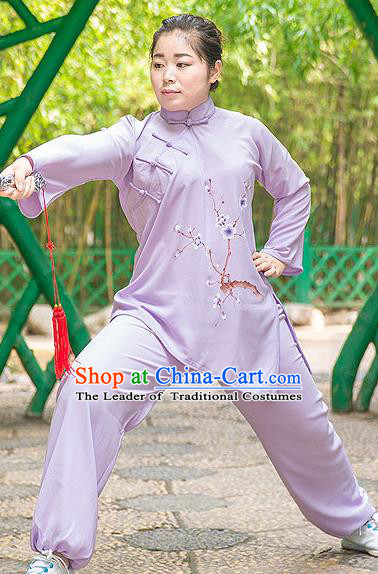Traditional Chinese Top Gastrodia Kung Fu Costume Martial Arts Kung Fu Training Plated Buttons Hand Painted Plum Blossom Purple Uniform, Tang Suit Gongfu Shaolin Wushu Clothing, Tai Chi Taiji Teacher Suits Uniforms for Women
