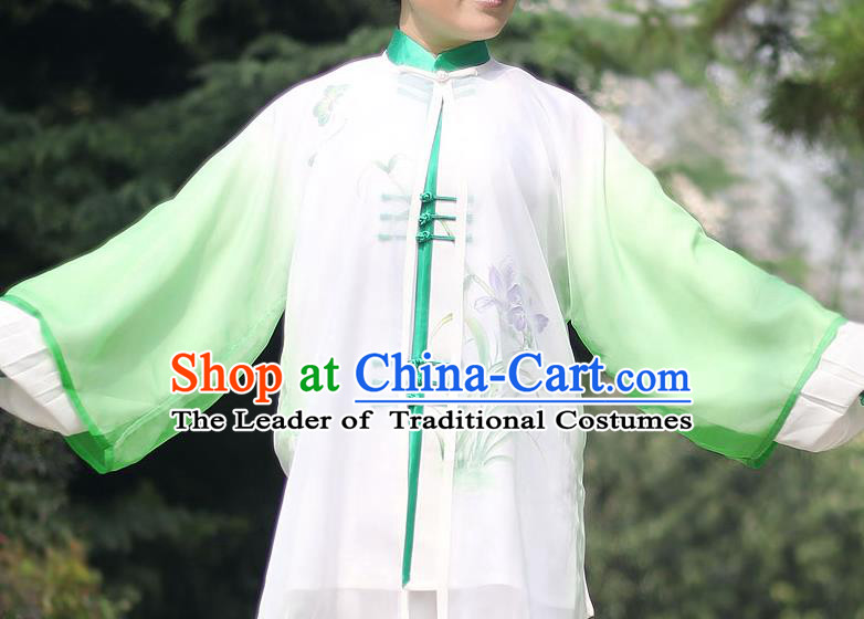 Traditional Chinese Top Gastrodia Kung Fu Costume Martial Arts Kung Fu Training Green Chiffon Marble, Tang Suit Gongfu Shaolin Wushu Clothing, Tai Chi Taiji Teacher Cardigan for Women