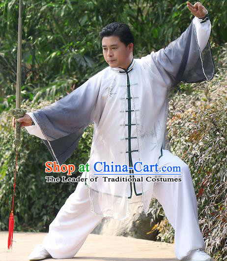 Traditional Chinese Top Kung Fu Costume Martial Arts Kung Fu Training Black Chiffon Marble, Tang Suit Gongfu Shaolin Wushu Clothing, Tai Chi Taiji Teacher Cardigan for Men