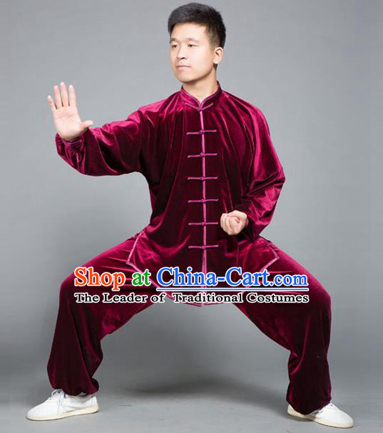 Traditional Chinese Top Gold Velvet Kung Fu Costume Martial Arts Kung Fu Training Plated Buttons Red Uniform, Tang Suit Gongfu Shaolin Wushu Clothing, Tai Chi Taiji Teacher Suits Uniforms for Men