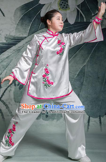 Traditional Chinese Top Stretch Silk Kung Fu Costume Martial Arts Kung Fu Training Embroidery Pink Orchid Uniform, Tang Suit Gongfu Shaolin Wushu Clothing, Tai Chi Taiji Teacher Suits Uniforms for Women
