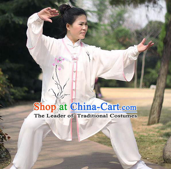 Traditional Chinese Top Chiffon Kung Fu Costume Martial Arts Kung Fu Training Printing Lotus Marble Uniform, Tang Suit Gongfu Shaolin Wushu Clothing, Tai Chi Taiji Teacher Suits Uniforms for Women