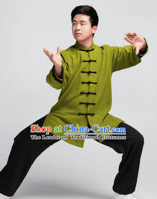 Traditional Chinese Top Muscle Hemp Kung Fu Costume Martial Arts Kung Fu Training Green Uniform, Tang Suit Gongfu Shaolin Wushu Clothing, Tai Chi Taiji Teacher Suits Uniforms for Men