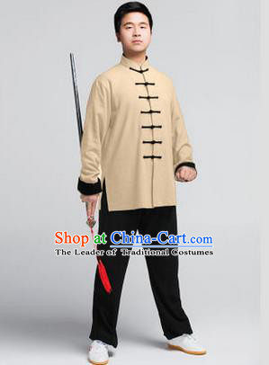 Traditional Chinese Top Muscle Hemp Kung Fu Costume Martial Arts Kung Fu Training Wheat Uniform, Tang Suit Gongfu Shaolin Wushu Clothing, Tai Chi Taiji Teacher Suits Uniforms for Men