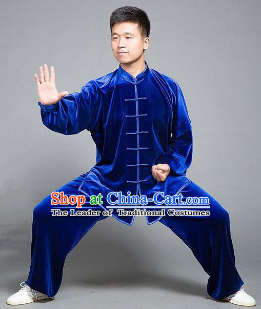 Traditional Chinese Top Gold Velvet Kung Fu Costume Martial Arts Kung Fu Training Plated Buttons Blue Uniform, Tang Suit Gongfu Shaolin Wushu Clothing, Tai Chi Taiji Teacher Suits Uniforms for Men