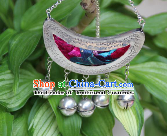 Traditional Chinese Miao Nationality Crafts, Hmong Handmade Silver Embroidery Jewelry Bell Pendant, Black Rope Necklace Pendant for Women