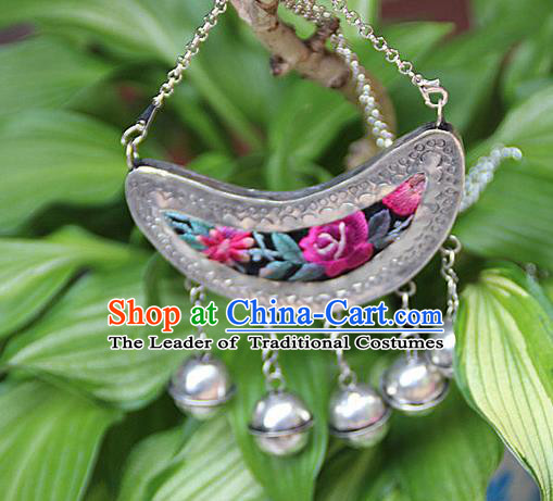 Traditional Chinese Miao Nationality Crafts, Hmong Handmade Silver Embroidery Bell Pendant, Black Rope Necklace Pendant for Women