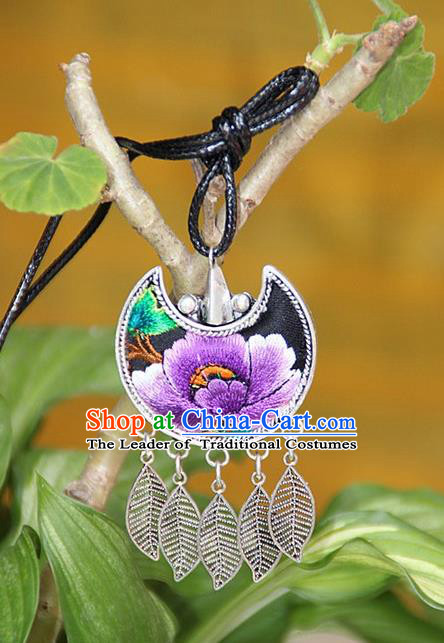Traditional Chinese Miao Nationality Crafts, Hmong Handmade Silver Embroidery Pendant, Necklace Accessories Bells Pendant for Women