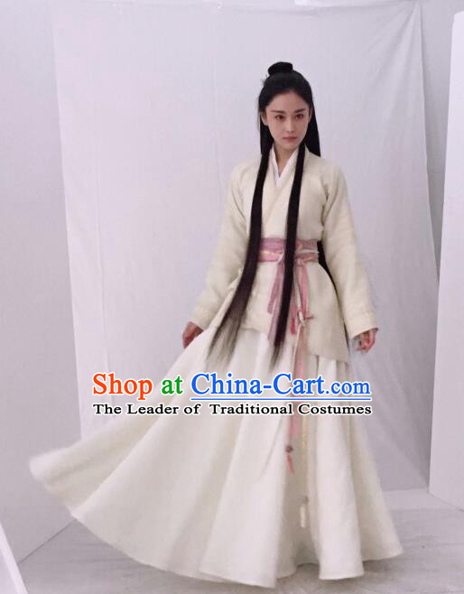 Traditional Ancient Chinese Imperial Consort Costume, Elegant Hanfu Palace Lady Dress Clothing, Chinese Warring States Period Princess Swordsman Clothing for Women