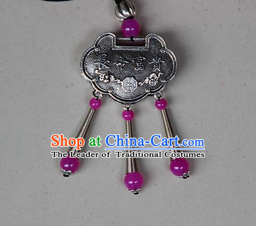 Traditional Chinese Miao Nationality Crafts, Hmong Handmade Miao Silver Embroidery Longevity Lock Pendant, Miao Ethnic Minority Necklace Accessories Bells Pendant for Women