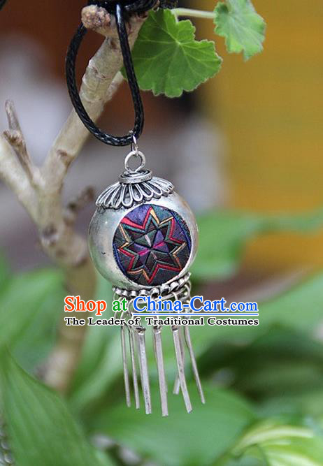 Traditional Chinese Miao Nationality Crafts, Hmong Handmade Miao Silver Embroidery Spherical Tassel Pendant, Miao Ethnic Minority Necklace Accessories Bells Pendant for Women