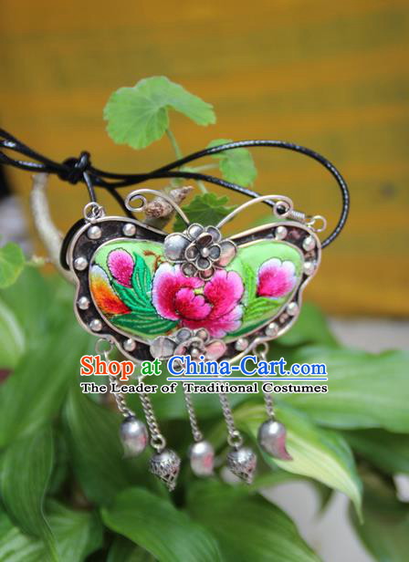 Traditional Chinese Miao Nationality Crafts, Hmong Handmade Miao Silver Embroidery Bells Butterfly Flowers Tassel Pendant, Miao Ethnic Minority Necklace Accessories Bells Pendant for Women