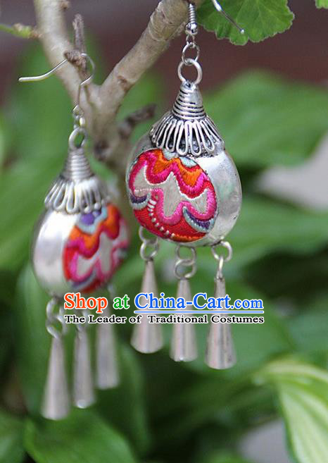 Traditional Chinese Miao Nationality Crafts, Hmong Handmade Miao Silver Embroidery Flowers Earrings, Miao Ethnic Minority Eardrop Accessories Ear Bells Pendant for Women