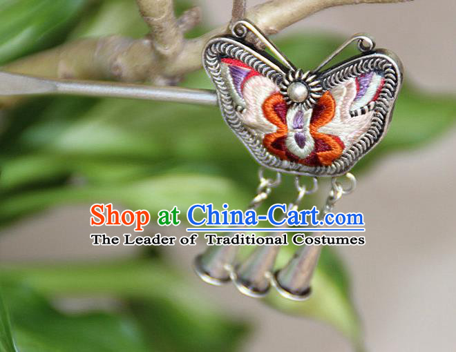 Traditional Chinese Miao Nationality Crafts Jewelry Accessory, Hmong Handmade Embroidery Miao Silver Butterfly Hairpin, Miao Ethnic Minority Bells Hair Fascinators Hairpins for Women