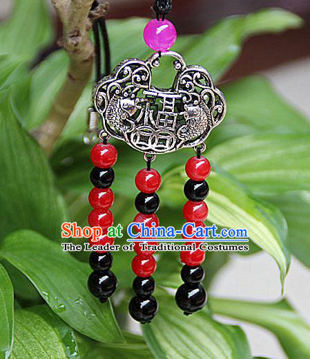 Traditional Chinese Miao Nationality Crafts Jewelry Accessory, Hmong Handmade Miao Silver Beads Tassel Longevity Lock Pendant, Miao Ethnic Minority Necklace Accessories Sweater Chain Pendant for Women