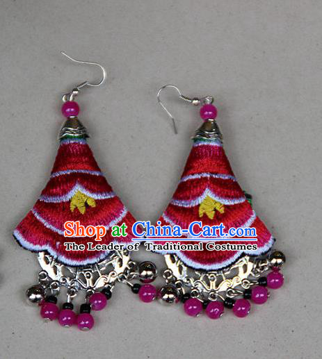 Traditional Chinese Miao Nationality Crafts Jewelry Accessory, Hmong Handmade Embroidery Beads Red Earrings, Miao Ethnic Minority Eardrop Accessories Ear Pendant for Women