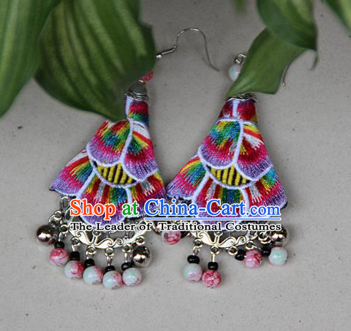 Traditional Chinese Miao Nationality Crafts Jewelry Accessory, Hmong Handmade Embroidery Beads Blue Earrings, Miao Ethnic Minority Eardrop Accessories Ear Pendant for Women