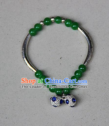 Traditional Chinese Miao Nationality Crafts Jewelry Accessory Bangle, Hmong Handmade Miao Silver Green Beads Bracelet, Miao Ethnic Minority Bells Bracelet Accessories for Women