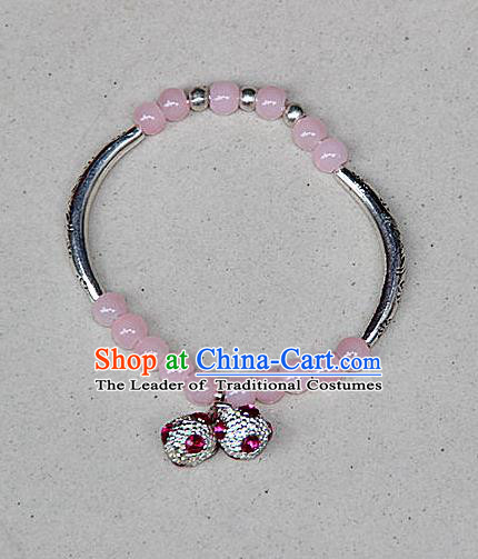 Traditional Chinese Miao Nationality Crafts Jewelry Accessory Bangle, Hmong Handmade Miao Silver Pink Beads Bracelet, Miao Ethnic Minority Bells Bracelet Accessories for Women
