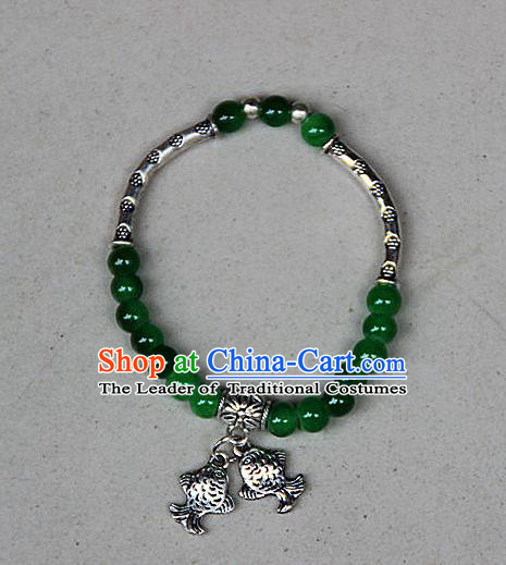 Traditional Chinese Miao Nationality Crafts Jewelry Accessory Bangle, Hmong Handmade Miao Silver Green Beads Bracelet, Miao Ethnic Minority Double Fish Bracelet Accessories for Women