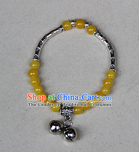 Traditional Chinese Miao Nationality Crafts Jewelry Accessory Bangle, Hmong Handmade Miao Silver Yellow Beads Bracelet, Miao Ethnic Minority Double Bells Bracelet Accessories for Women