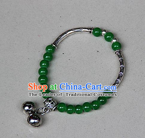 Traditional Chinese Miao Nationality Crafts Jewelry Accessory Bangle, Hmong Handmade Miao Silver Green Beads Bracelet, Miao Ethnic Minority Double Bells Bracelet Accessories for Women