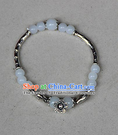 Traditional Chinese Miao Nationality Crafts Jewelry Accessory Bangle, Hmong Handmade Miao Silver White Beads Bracelet, Miao Ethnic Minority Bracelet Accessories for Women