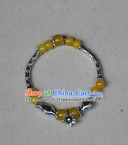 Traditional Chinese Miao Nationality Crafts Jewelry Accessory Bangle, Hmong Handmade Miao Silver Yellow Beads Bracelet, Miao Ethnic Minority Bracelet Accessories for Women
