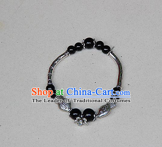 Traditional Chinese Miao Nationality Crafts Jewelry Accessory Bangle, Hmong Handmade Miao Silver Black Beads Bracelet, Miao Ethnic Minority Bracelet Accessories for Women